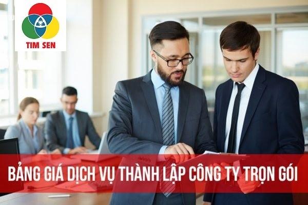Bảng giá dịch vụ thành lập công ty trọn gói tại Long An