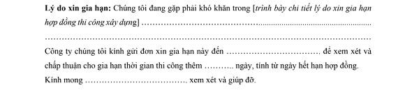 don xin gia han hop dong 5 - Mẫu đơn xin gia hạn hợp đồng thi công xây dựng mới nhất